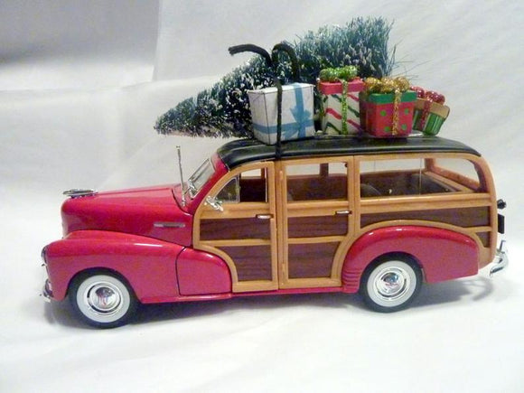 Red Chevrolet Woody - Christmas Woody with tree - Diecast truck decor, Red metal Chevy Woody