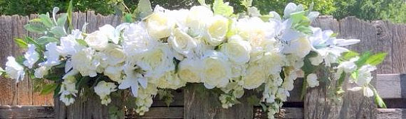Wedding Arch - White Rose Arbor swag - White Wedding Flowers - Wedding Arch Decorations