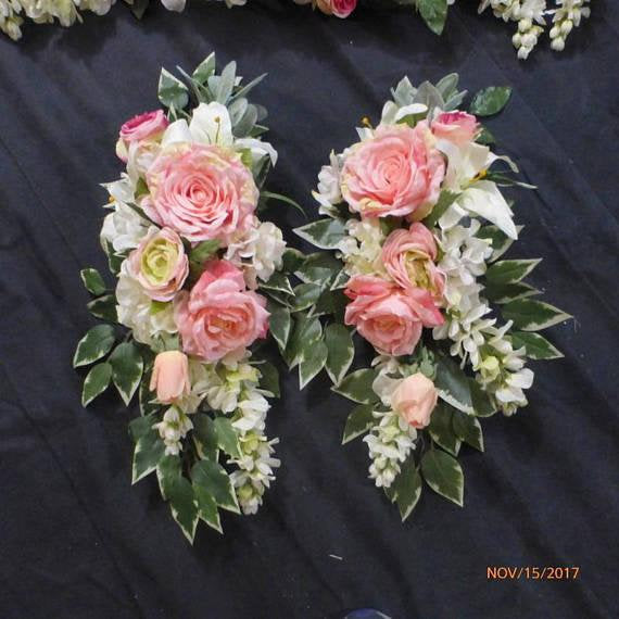 Wedding Arch Tiebacks - Floral Pew Bows - Wedding swags for Arbor - Wedding decorations