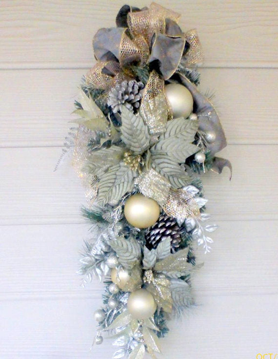 Christmas Poinsettia Door Swag - Christmas Wreaths - Platinum door swags - Julie Butler Creations
