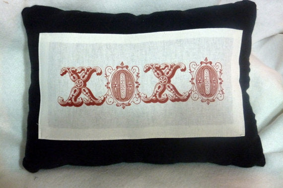 Romantic pillow - Linen Pillow - xoxo red lettering - decorative pillow - Hugs and Kisses pillow - Julie Butler Creations