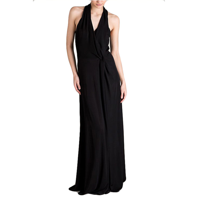 BIANCA SPENDER BLACK JERSEY ENTWINED LONG DRESS