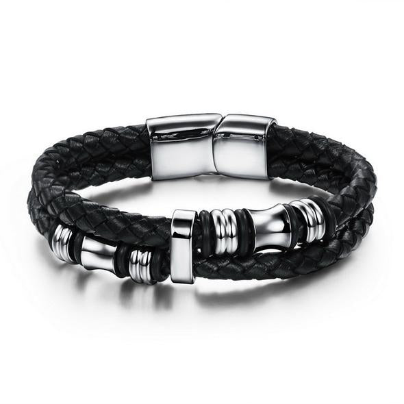 Double-Layer Braided Leather Bracelet