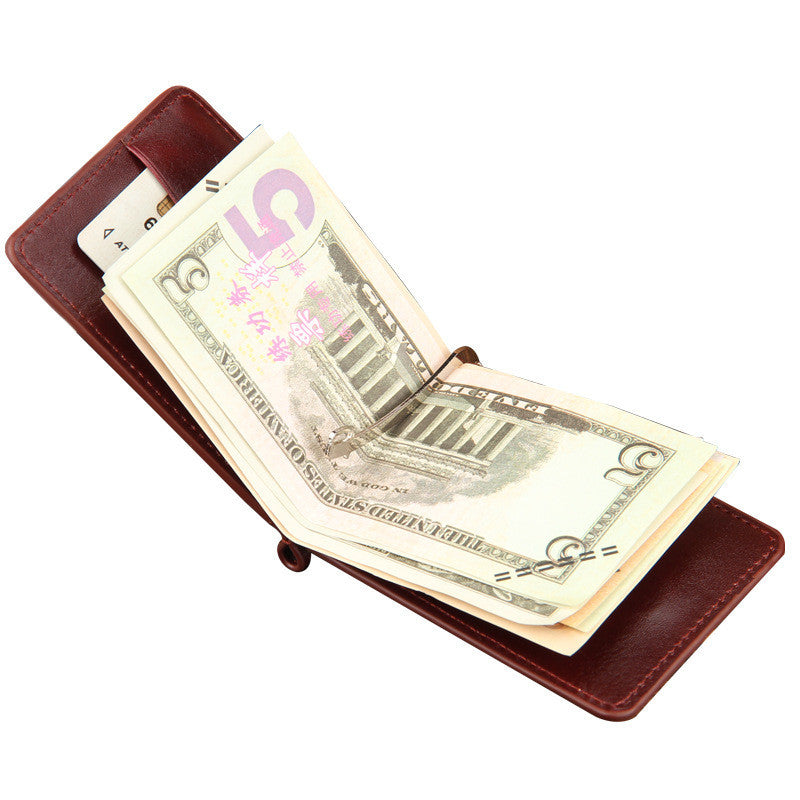 Leather Money Clip with Zip Pocket