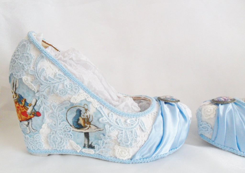 Alice in 1865 Something Blue Lace Wedges
