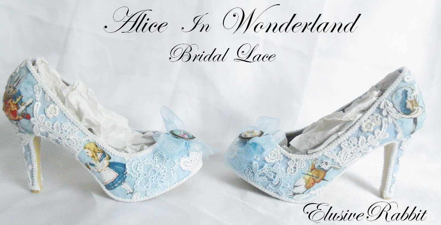 Alice in 1865 Something Blue Lace Heels - Outside View