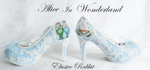Alice in 1865 Something Blue Lace Heels- Inside View