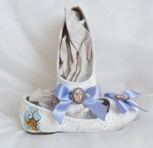 Alice in 1865 Ribbon White Lace Flats - Top and Side View