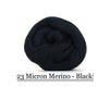 Black -  Merino Wool Top - 23 Micron