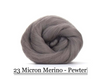 Pewter -  Merino Wool Top - 23 Micron