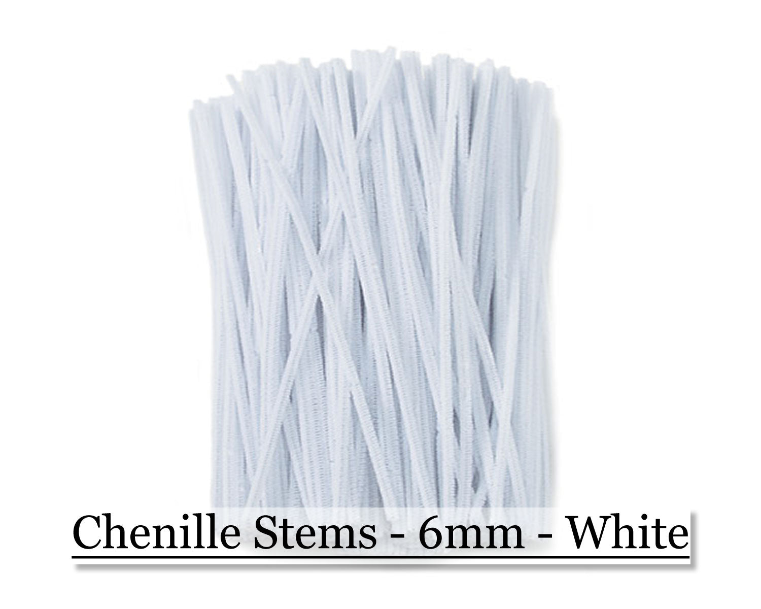Chenille Stems - 6mm - White