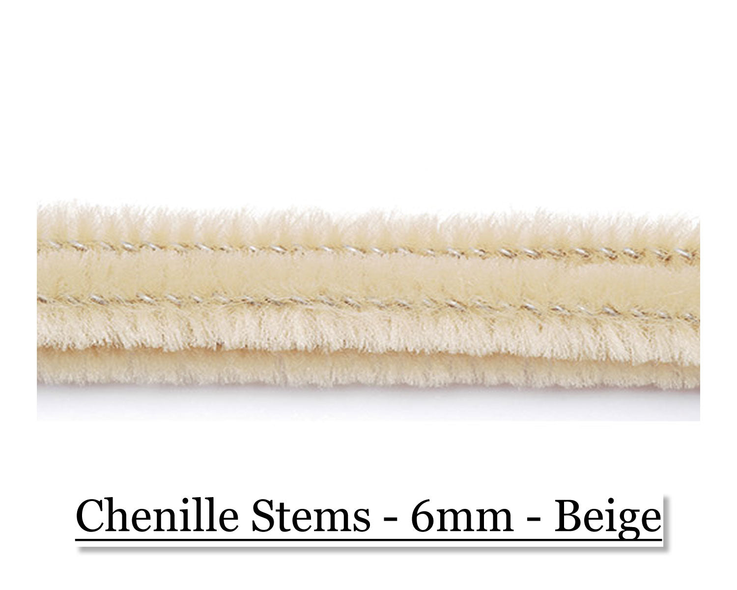 Chenille Stems - 6mm - Beige