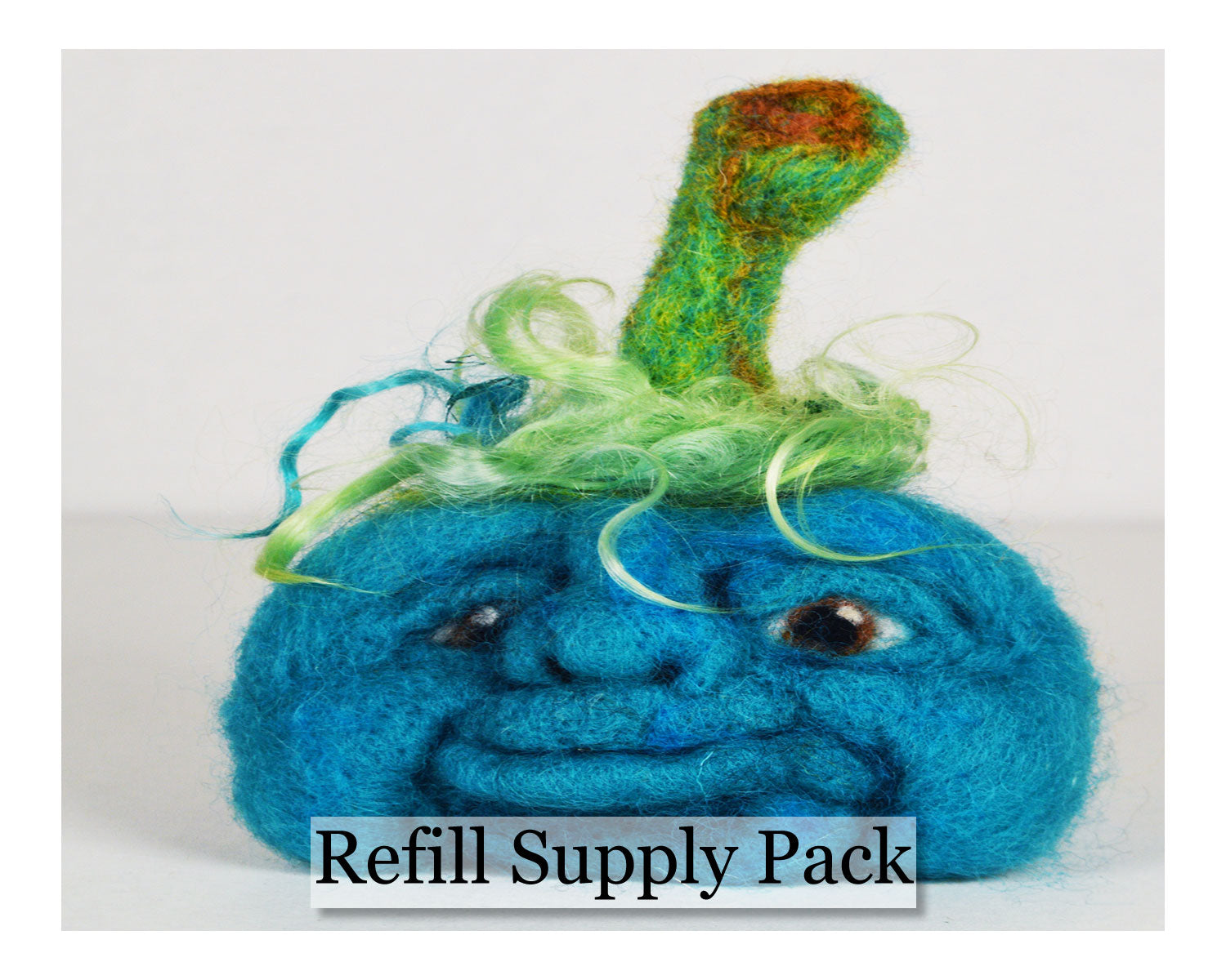 Blue Face Pumpkin Needle Felting Refill Supply Kit