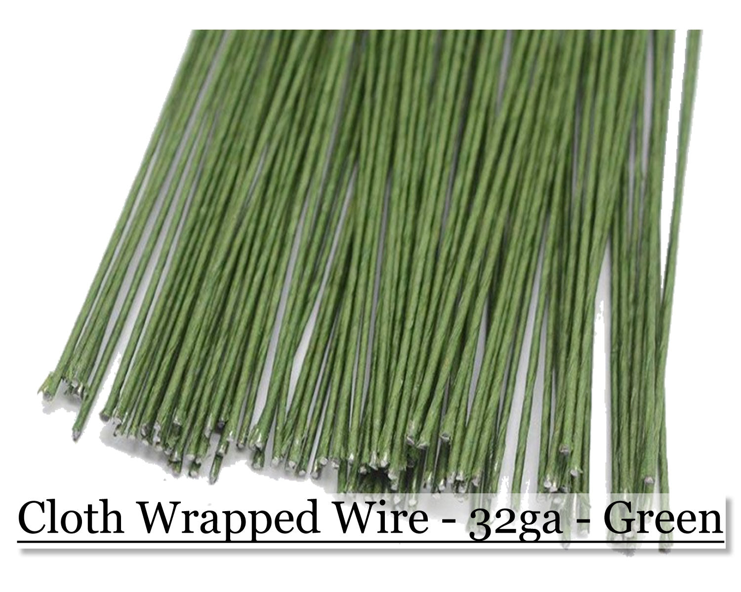 Cloth wrapped wire 32ga - Green