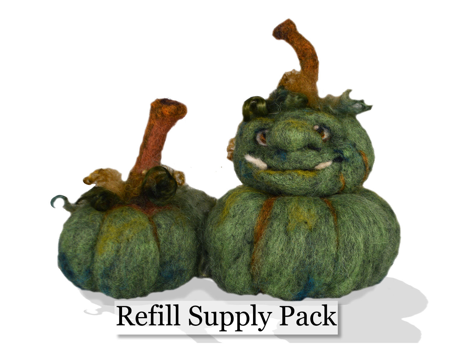 Green Face Pumpkin Needle Felting Refill Supply Kit