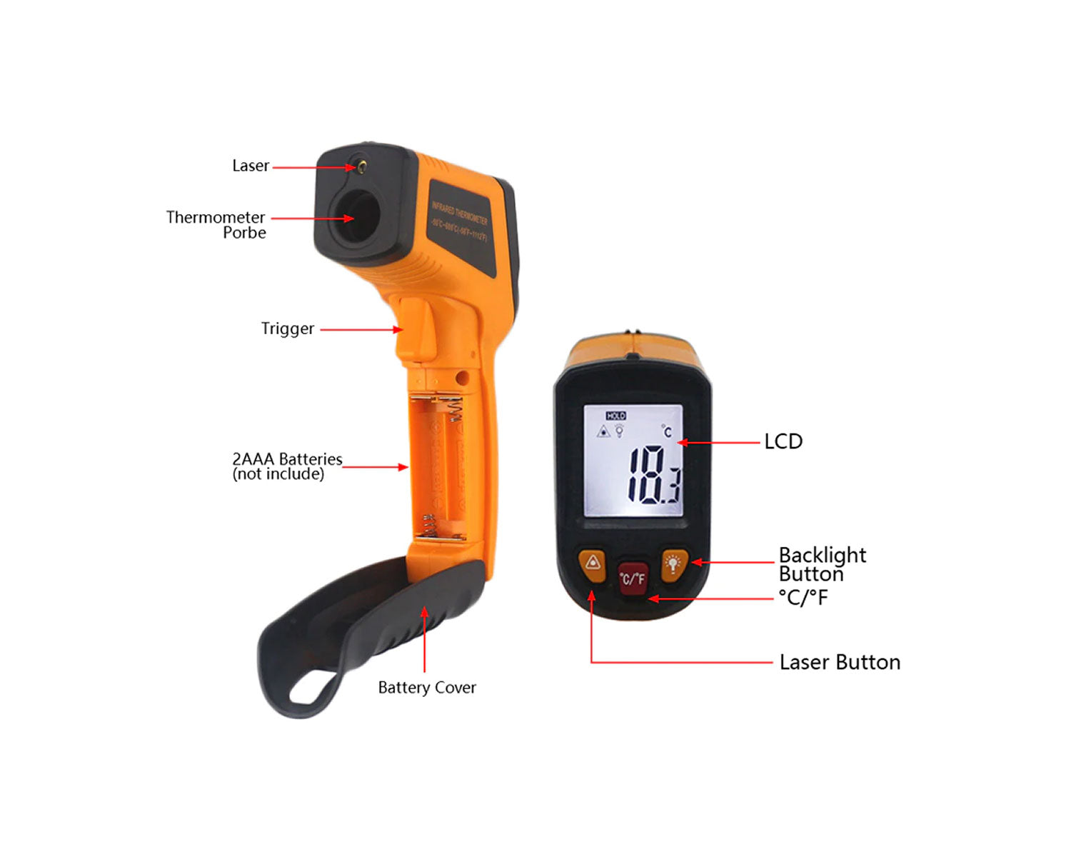 Handheld Non-contact IR Infrared Digital Thermometer
