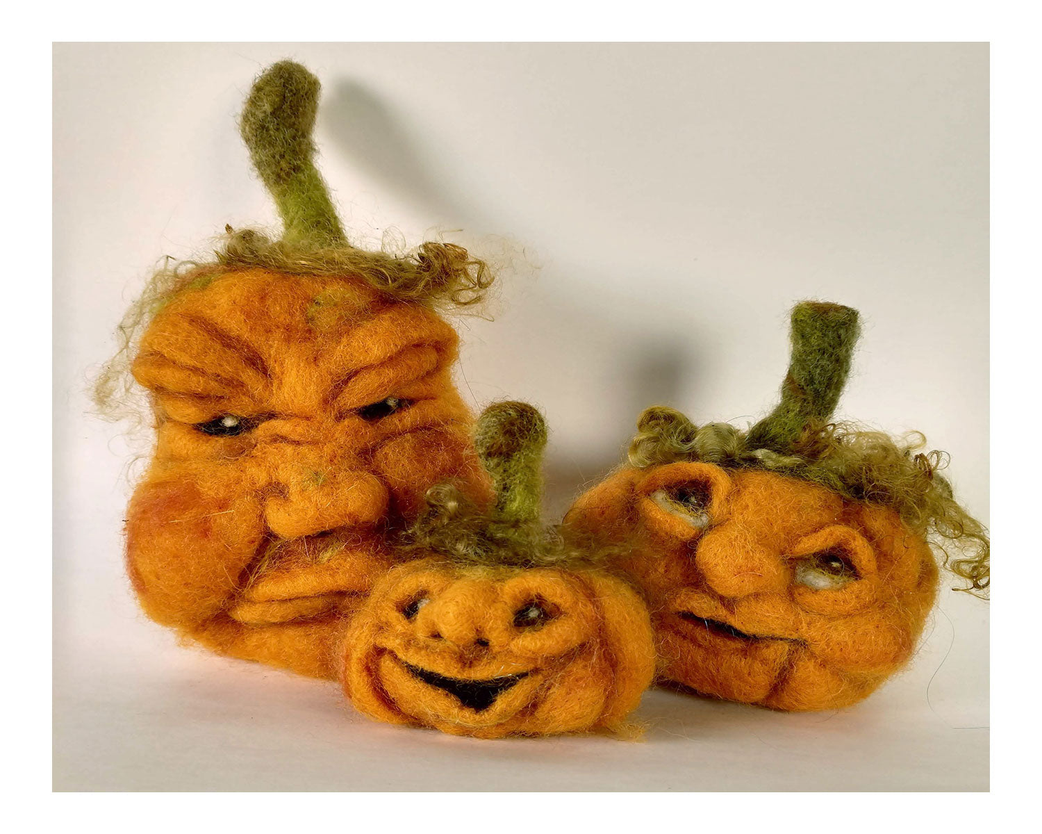 Orange Face Pumpkin Needle Felting Kit