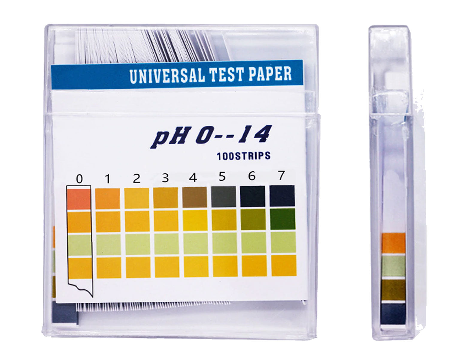 Plastic pH Test Strips, 4 pad, Universal Test Paper(pH 0~14), 100 strips