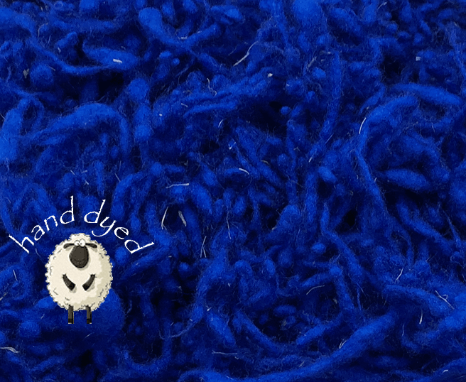 Sapphire Blue - Wool Slubs - Hand Dyed- 1 Ounce