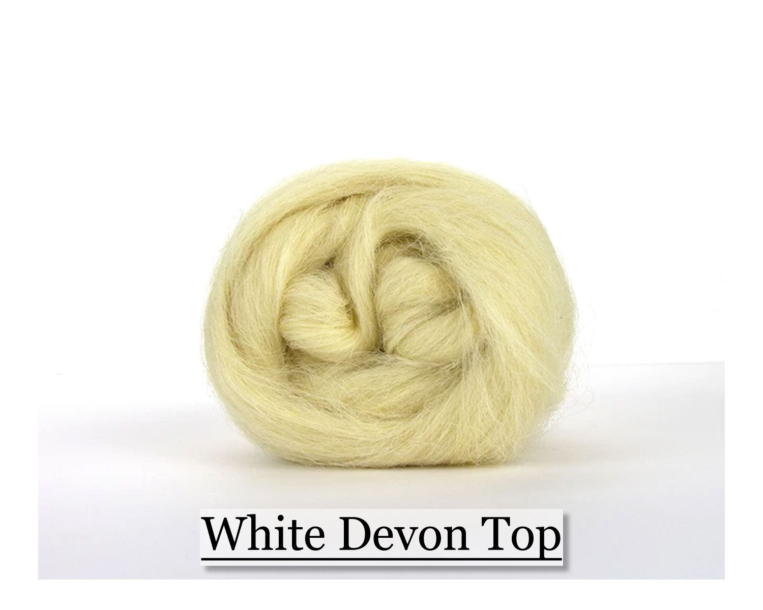 White Devon Wool Top - 8oz