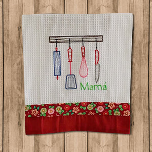 "Toalla de Cocina Decorativa ""Kitchen Towels"" con Figura de Cubiertos"