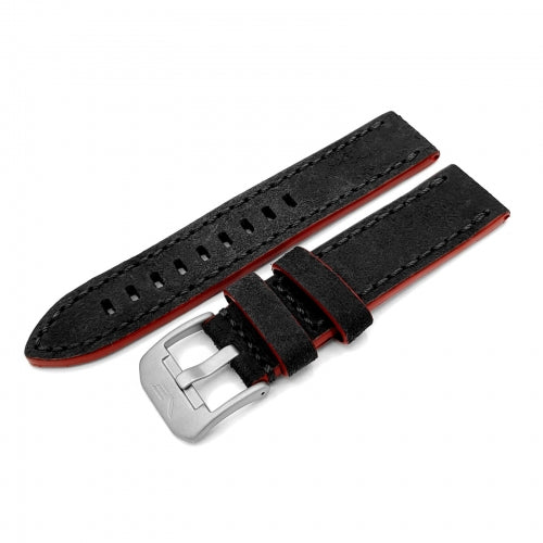 ALMAZ GREY & RED GENUINE LEATHER STRAP 22mm - MATT BUCKLE