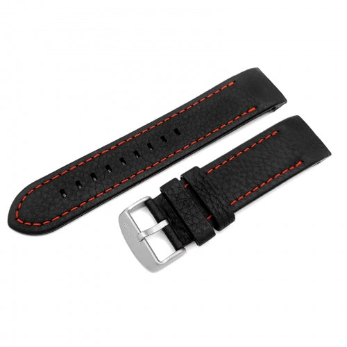 ANCHAR BLACK & RED LEATHER STRAP 24mm - MATT BUCKLE