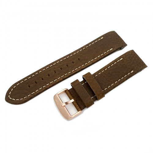 ANCHAR BROWN & WHITE LEATHER STRAP 24mm - BRONZE BUCKLE