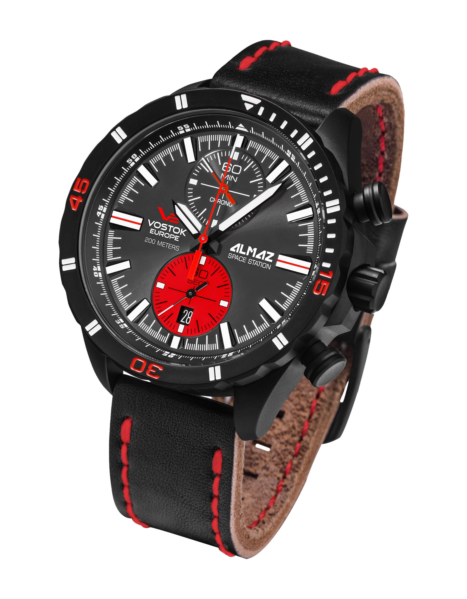 Almaz 6S11-320C260 Black Leather Strap