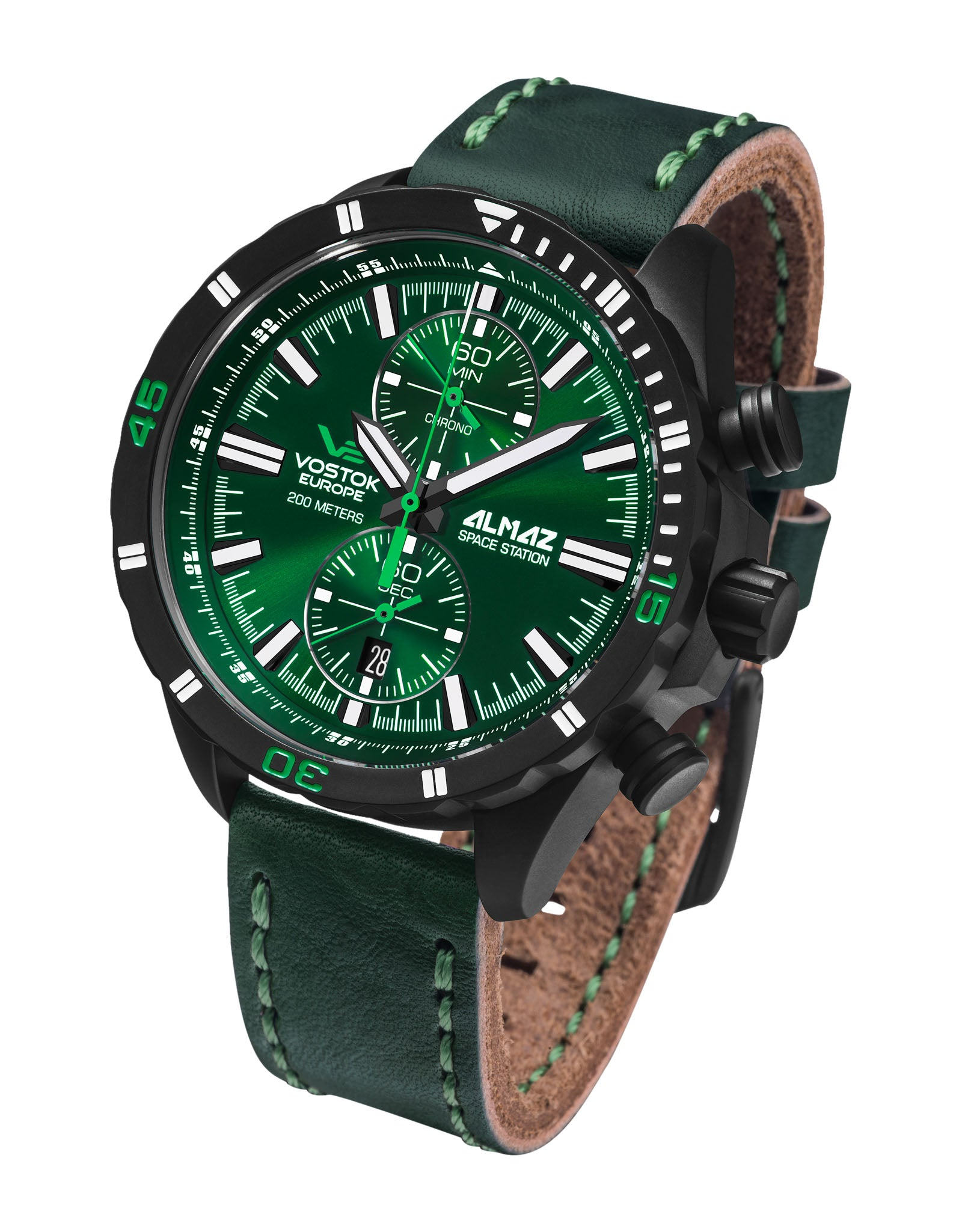Almaz 6S11-320C261 Green Leather Strap