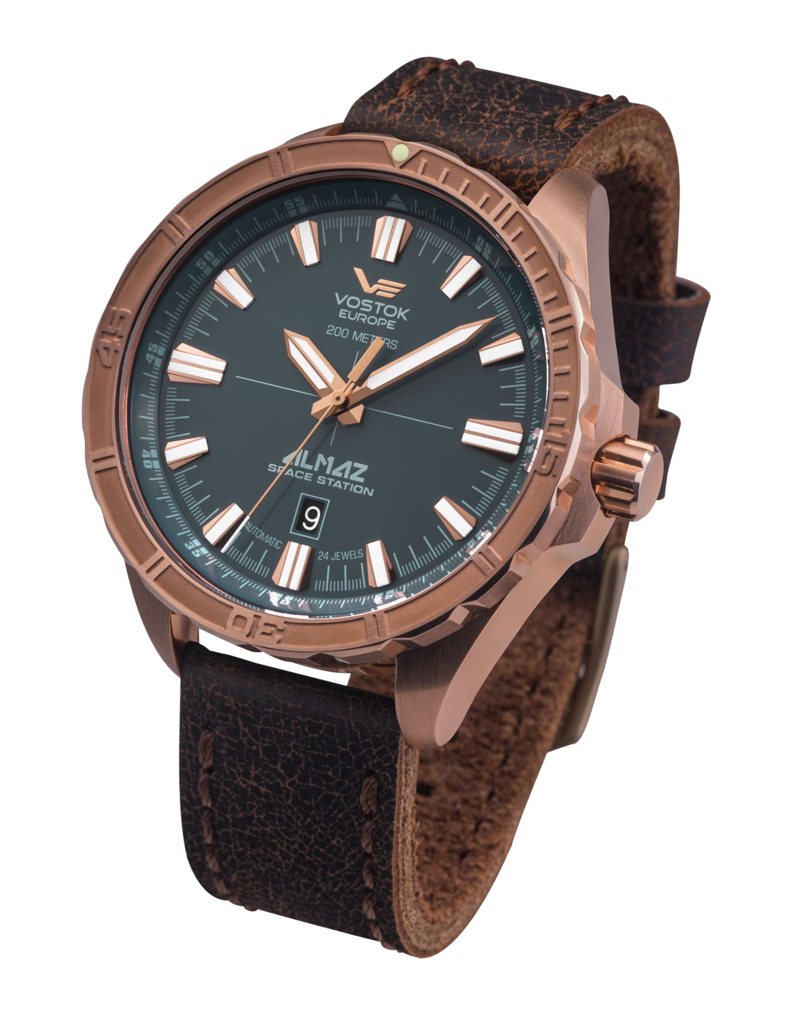 Almaz NH35A-320O507 Brown Leather Strap