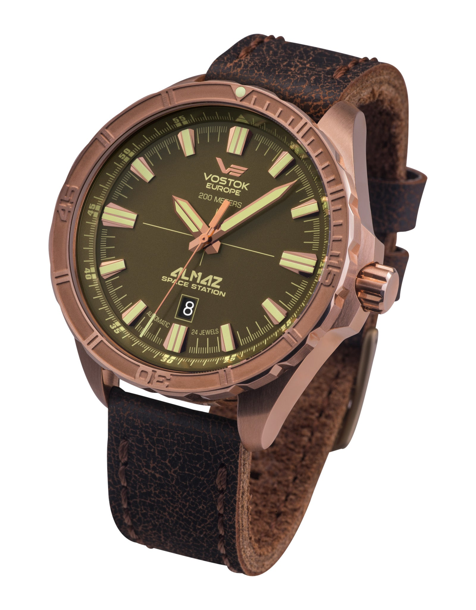 Almaz NH35A-320O516 Brown Leather Strap