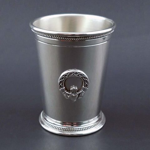 Sterling Silver Mint Julep Cup Medallion and Beaded Border