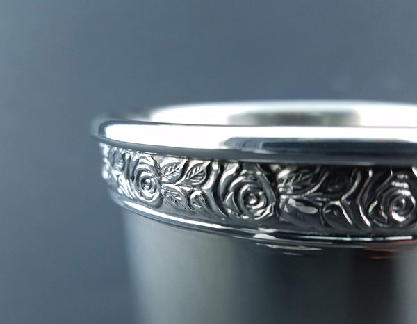 Sterling Silver Mint Julep Cup Rose Border