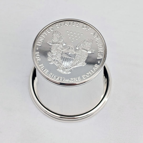 Wedding Gift Silver Dollar Shot Glass