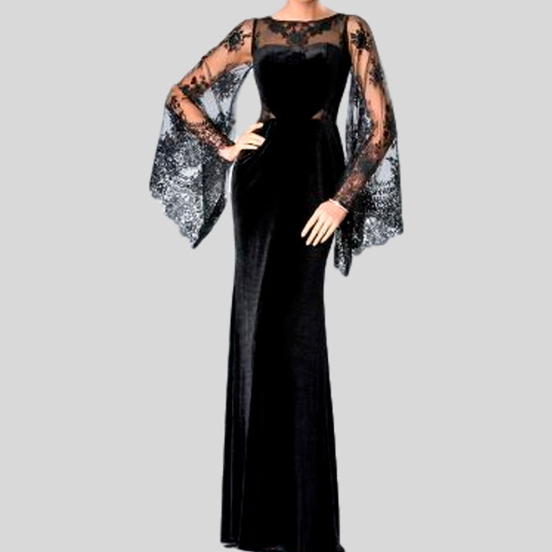 Lace Sheath O Neck Long Sleeves Long Evening Dress