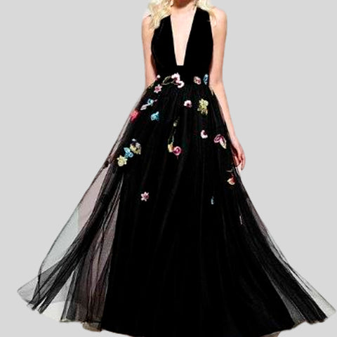 Bridal Black Formal Long Elegant Evening Sequins Luxury Dress