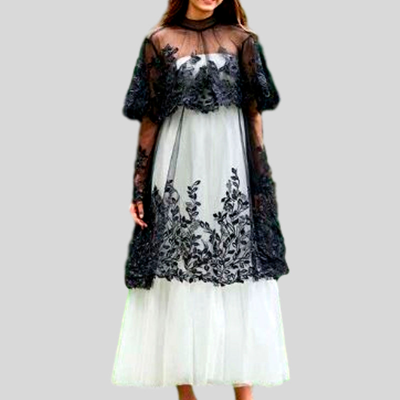 High Neck A Line Long Sleeves Ankle Length Appliques Tulle Evening Dress