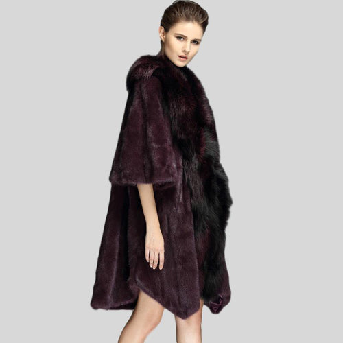 Genuine Mink Fur Fox Collar Coat - Knot Bene