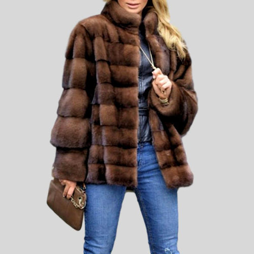 Genuine Mink Fur Stand Collar Jacket