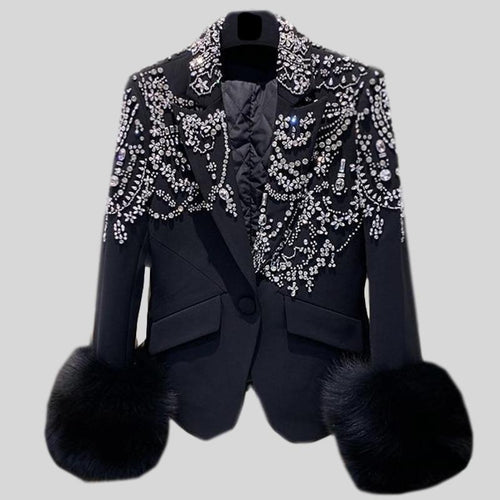 Handmade Beaded Big Fox Fur Sleeve Blazer  Coat