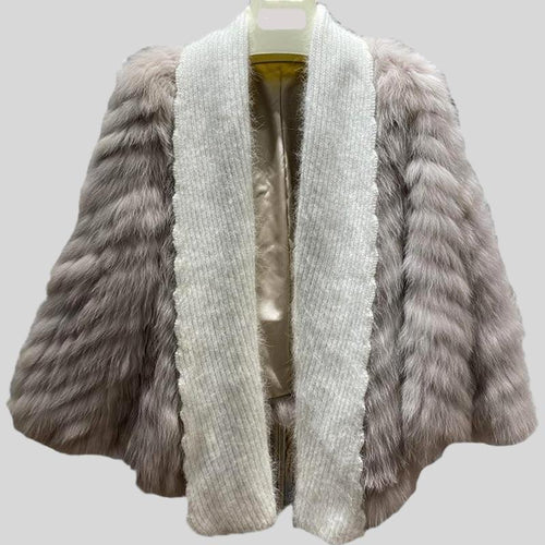 Genuine Knitted Fox Fur  Cardigan l Fur Coat