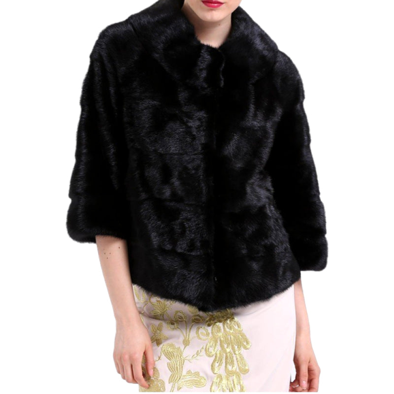 Genuine Mink Fur With Pocket Solid Black Jacket - Knot Bene