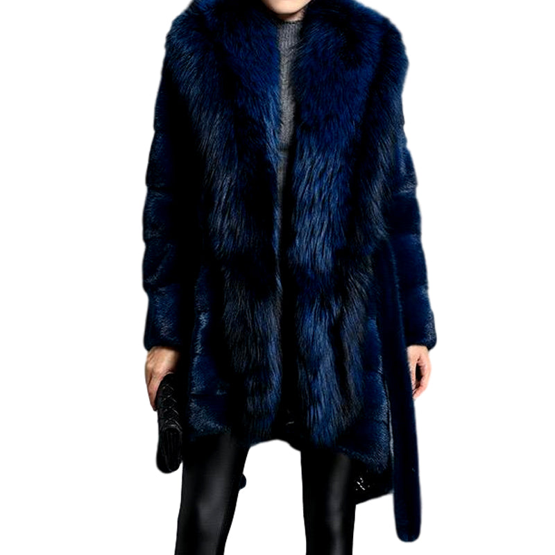 Genuine Mink  Fox Fur Collar Elegant Blue Fur Coat - Knot Bene