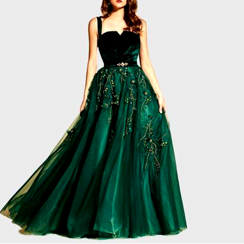 Green Spaghetti Strap Long evening Dress