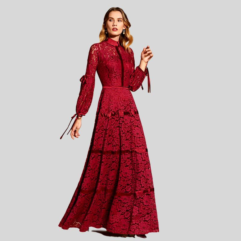 Red High Neck Lace Evening Dress – Knot Bene