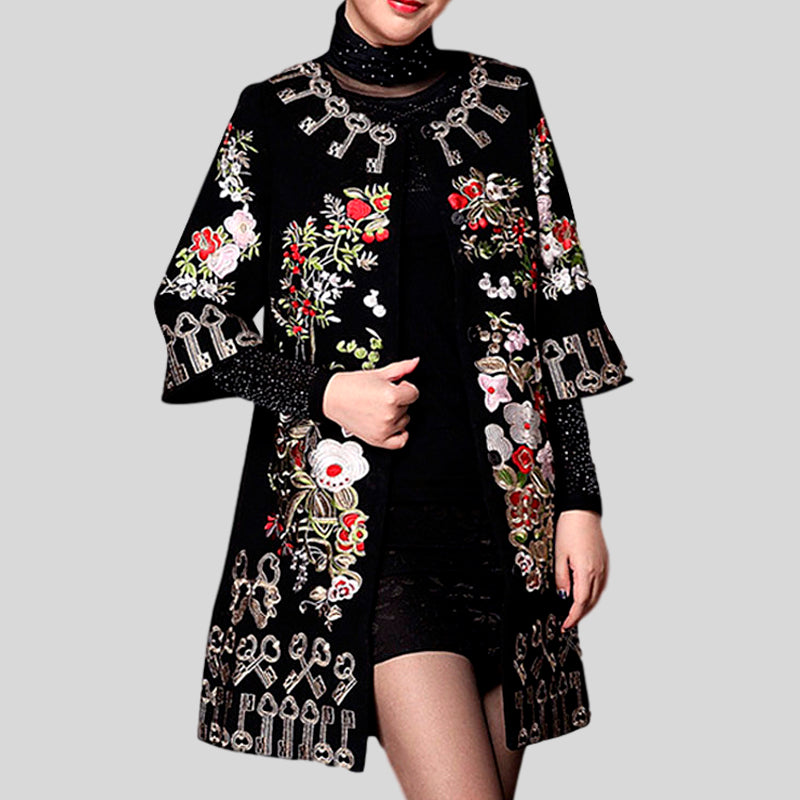 Embroidery Woolen Elegant Plus Size Loose Trench