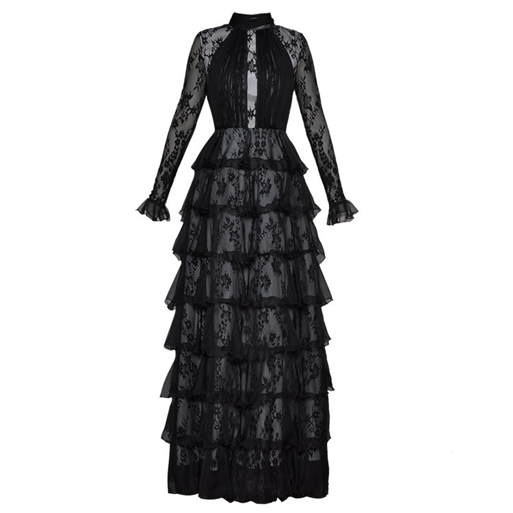 Flare Sleeve Ruffled Ball Long Elegant Dress - Knot Bene