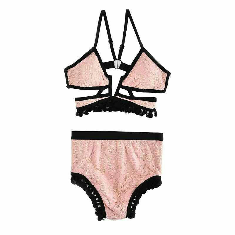Fringed Lace Split High Waist Swimwear - Knot Bene