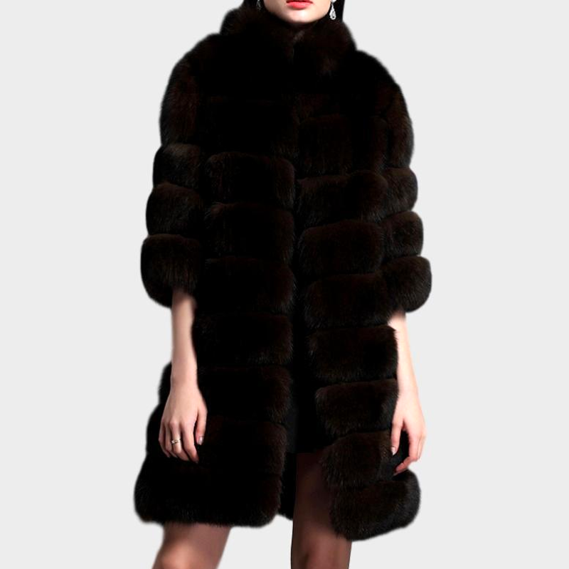 Long Genuine Fox Fur Coat